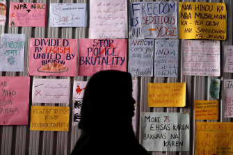Placards displayed in Bangalore during a protest against a new citizenship law that opponents say threatens India's secular identity.