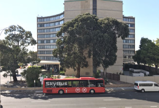 A Skybus outside the Holiday Inn at Melbourne Airport on Wednesday morning.
