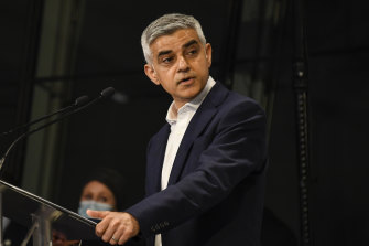 Re-elected mayor of London Sadiq Khan after the result declaration at City Hall, London.