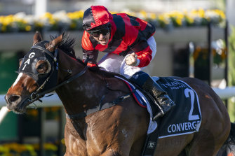 Converge wins the JJ Atkins Stakes in June at the Brisbane Carnival.