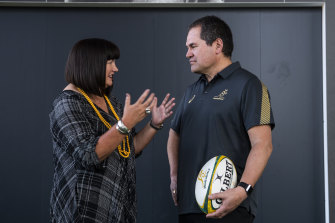 Raelene Castle and Dave Rennie at the latter's unveiling at Rugby Australia headquarters in January.
