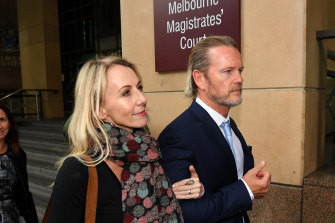 Craig McLachlan (right) and his partner Vanessa Scammell outside court last week.