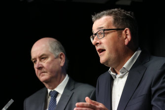 Premier Daniel Andrews and Planning Minister Richard Wynne announcing the $600 million cladding fund in July.