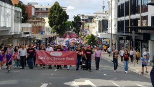 Crowds at the Labour Day march in Brisbane.