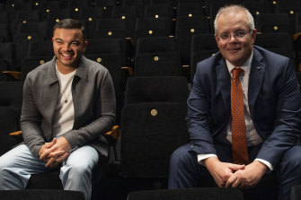 Singer Guy Sebastian with Prime Minister Scott Morrison at the announcement of a $250 million arts rescue package in June 2020.
