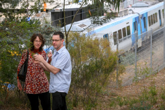 Jane Oldfield and Damian Magner, who spottedthe endangered butterfly in remnant bushland near Montmorency station in January.