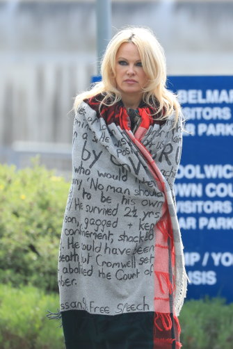 "After visiting Assange in prison in May, actor Pamela Anderson told the waiting press, ""He is an incredible person. I love him."""
