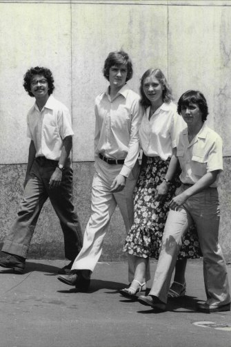 "Original caption: ''Peter, Geoff, Mary and Ross.... all North Shore types, more conservative than students a decade ago and all products of ""Good"" schools. The best and the brightest of the Class of '79 are full of confidence, even anxious to meet the challenge of the 80s. They are likable, without the arrogance that sometimes goes with gifted minds. But they have learned some lessons of the harsh 70s. Youthful optimism is touched with cynicism."""