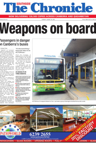 A frontpage article in the Southside Chronicle from August 2007 revealed a couple had been threatened by a knife on an ACTION bus, which was too full for the driver to be informed.
