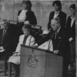 Ninian Stephen speaks at the opening of the first session of the new Parliament House.