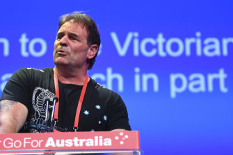 John Setka speaks to last year's Labor Party conference in Adelaide.