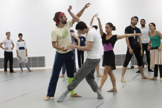Dancers rehearse ahead of a performance at London's Sadler's Wells Theatre.
