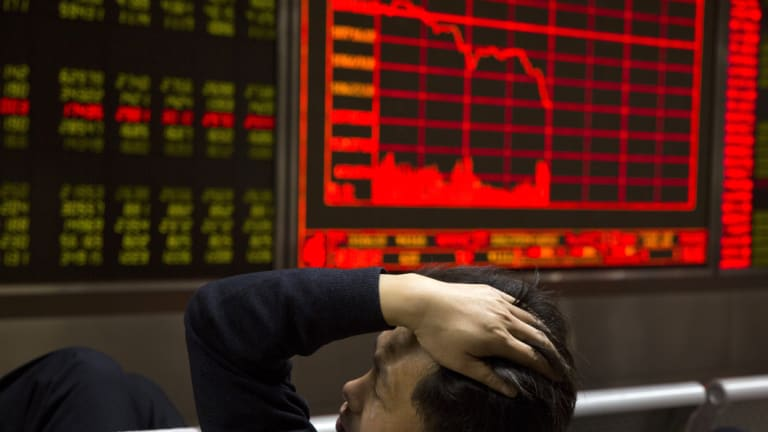 China's stock market fell heavily, rattled by an injection of cash into its banking system.