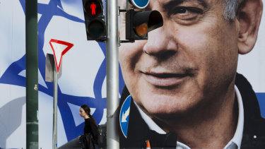 A campaign billboard showing Benjamin Netanyahu in Tel Aviv.