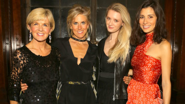 Julie Bishop, Kit Willow, Rebecca Corbin Murray and Jasmine Hemsley attend the opening evening for the Australian Fashion Council's inaugural showroom in London.