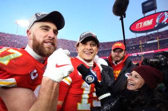 Kansas City quarterback Patrick Mahomes celebrates booking the Chiefs a first Super Bowl since 1970.