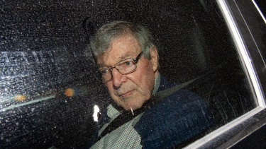 Cardinal George Pell arriving at the Seminary of the Good Shepherd in Sydney on Wednesday.