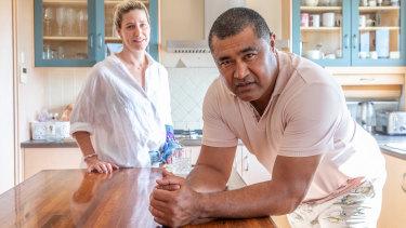 Toutai Kefu and wife Rachel, in their Brisbane home.