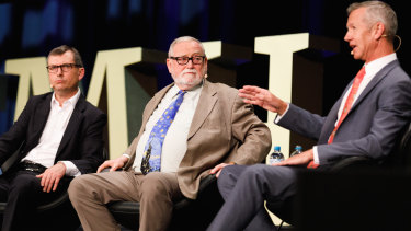 David Crowe, Ross Gittins and Peter Hartcher speak on a panel at SMH Live on Wednesday.