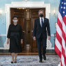 Secretary of State Antony Blinken, right, accompanied by Indonesian Foreign Minister Retno Marsudi, walks to meet the press after a bilateral meeting at the State Department in Washington.