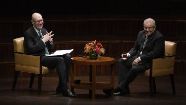 Lowy Institute boss Michael Fullilove interviews Prime Minister Scott Morrison at the think tank's annual lecture.