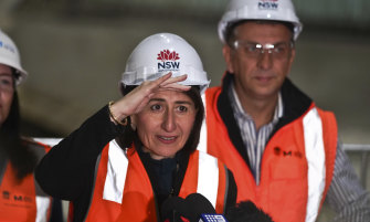 Premier Gladys Berejiklian and Transport Minister Andrew Constance at a transport construction site last year.