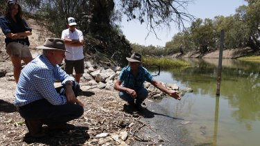 Federal opposition spokesman for water Tony Burke visiting Menindee in January and meeting Barkandji elder Badger Bates and representatives from the Tolarno Station.