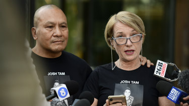 John and Julie Tam, parents of Joshua Tam, who died at the Lost Paradise music festival in December 2018, speak to the media outside the Coroner's Court.