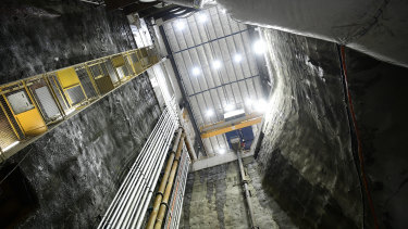 A 30-metre shaft to the site of the tunnel boring machine at Barangaroo.