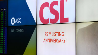 CSL shares fell 2.9 per cent on Monday, but this was from historical highs the day before.