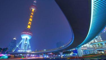 The Oriental Pearl Tower in Shanghai.