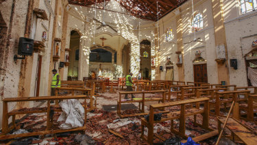 A view of St Sebastian's Church, damaged in a blast in Negombo, north of Colombo, on Sunday.