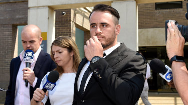 Josh Reynolds leaves court in December. The charges have now been dropped.
