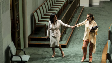 Independent MP Julia Banks and Labor's Anne Aly after a division in the House of Representatives on November 28, 2018.