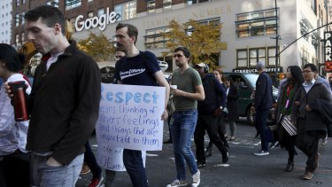 Thousands of staff from Google's New York office took part in the walkout.