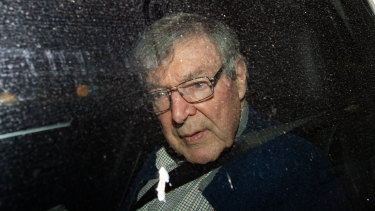Cardinal George Pell arrives at the Seminary of the Good Shepherd in Homebush on Wednesday.