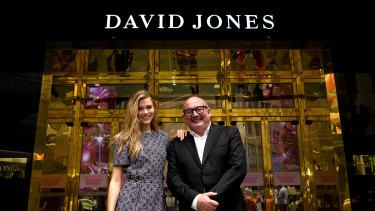 David Jones Ambassador Victoria Lee and Ian Moir at the new-look Elizabeth Street store in Sydney. Moir loses the top job at Woolworths, but will remain acting CEO at David Jones.