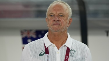 Graham Arnold pictured during a Socceroos match against Egypt at the Tokyo Olympics.