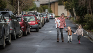 Kathy Zeimar says she will leave her home of 23 years if the parking restrictions are introduced.  On Friday she was looking after her grandchildren Billie, 4, Zak, 2, and six-week-old Ashton.