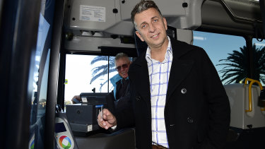 Transport Minister Andrew Constance announces the Opal expansion on Sunday.