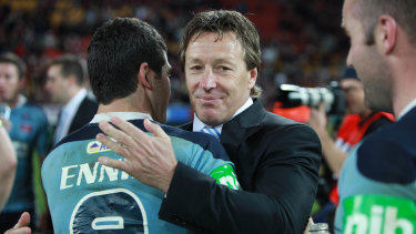 Craig Bellamy and Michael Ennis after the game three win.