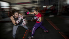 Take that: Pro boxer Bianca Elmir (right) spars with aspiring boxer Gemma Rafferty, at a clinic at Mischa's Boxing Central gym in Footscray.