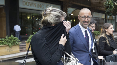 Simone Selkirk (left) leaving the Downing Centre in May with her then-barrister AJ Karim.