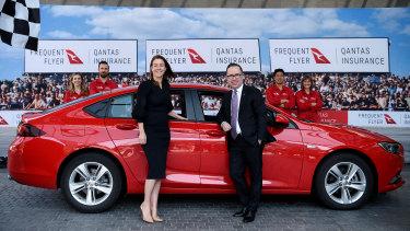 Qantas Group CEO Alan Joyce and Qantas Loyalty CEO Olivia Wirth at the Qantas Car Insurance launch in Sydney.