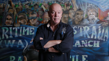 WA Maritime Union boss Christy Cain at his headquarters in Fremantle.