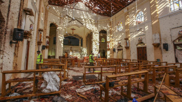 St Sebastian's Church was damaged in the blast in Negombo, north of Colombo.