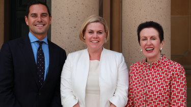 Licia Heath (centre) has been endorsed by Alex Greenwich and Clover Moore for the Wentworth byelection.