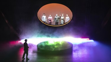 The gods depart for Valhalla in Melbourne Opera's 2021 Das Rheingold.