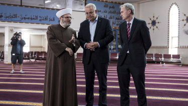 Prime Minister Scott Morrison visits the Lakemba Mosque with Immigration Minister David Coleman and Imam Shaykh Yahya Safi on Saturday