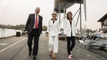 Setting sail: Wild Oats owner Sandy Oatley, Julie Bishop and skipper Stacey Jackson.